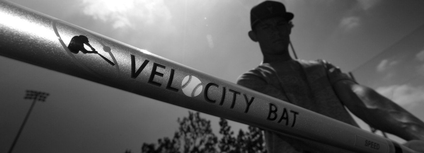 batter with velocity bat close up